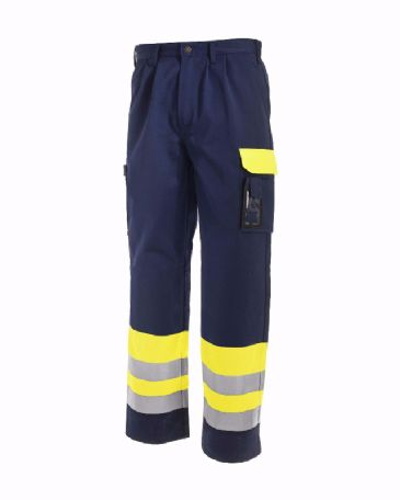 Blaklader 1584 High Visibility Trousers (Yellow/Navy Blue)